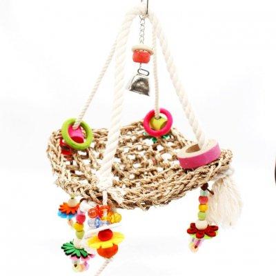 鳥・インコのおもちゃ_ブラブラハンモック型ブランコ Mサイズ