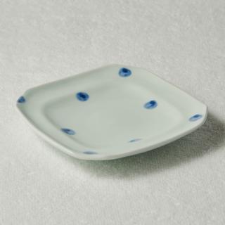 5寸角皿/水玉<br>150mm square plate