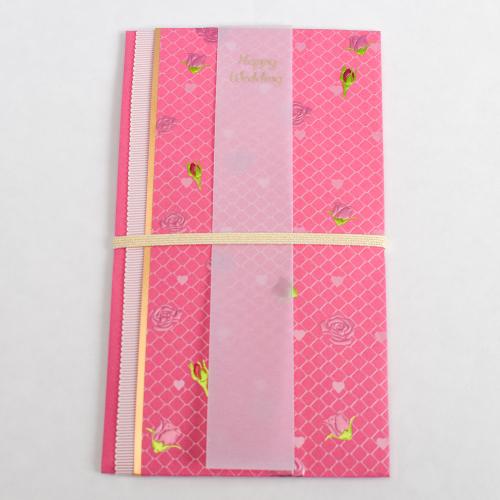 バラを散りばめたご祝儀袋/濃いピンク