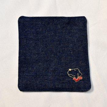 ラブラドール刺繍デニムコースター