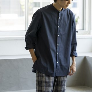 """<img class='new_mark_img1' src='https://img.shop-pro.jp/img/new/icons13.gif' style='border:none;display:inline;margin:0px;padding:0px;width:auto;' />Cale SUPIMA COTTON BAND COLLAR SHIRTS """"NAVY""""[ネイビー]"""