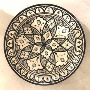 モロッコ 絵皿  ブラック×ホワイト S/M/L/XL