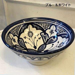 モロッコ 陶製ボウル  ブルー&ホワイト M/L