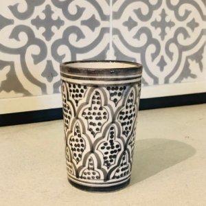 モロッコ陶器 コップ グレーB