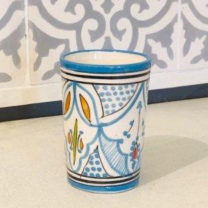 モロッコ陶器 コップ ターコイズ