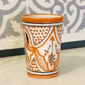 モロッコ陶器 コップ オレンジ