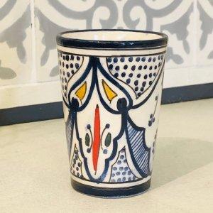 モロッコ陶器 コップ ネイビー