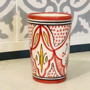 モロッコ陶器 コップ レッド