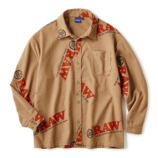 "RAW × INTERBREED ""Logo Textile Work Shirts"" / Lt Brown"