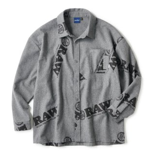 "RAW × INTERBREED ""Logo Textile Work Shirts"" / Cool Grey"