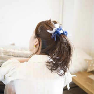 マリン|彩る咲き編みバレッタ/ヘアクリップ