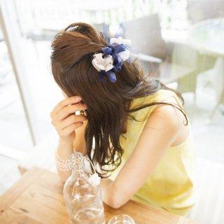 mini|マリン|彩る咲き編みバレッタ/ヘアクリップ