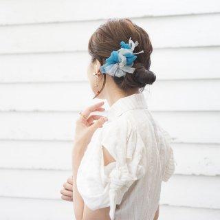 mini|スモーキー|彩る咲き編みバレッタ/ヘアクリップ