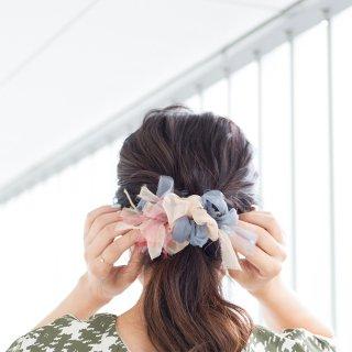 ベーシック|彩る咲き編みバレッタ/ヘアクリップ