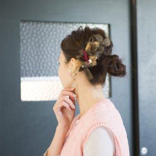 カフェ|彩る咲き編みバレッタ/ヘアクリップ