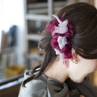 ワイン|彩る咲き編みバレッタ/ヘアクリップ