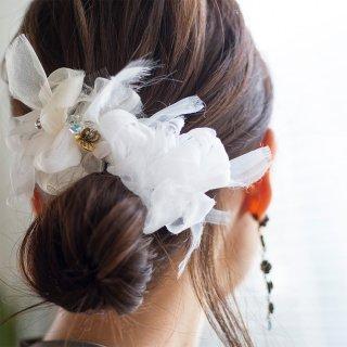 【party】スノーホワイト|彩る咲き編みバレッタ/ヘアクリップ