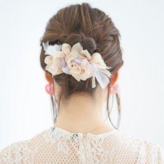 ミルクティ|彩る咲き編みバレッタ/ヘアクリップ