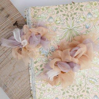 mini|ミルクティ|彩る咲き編みバレッタ/ヘアクリップ