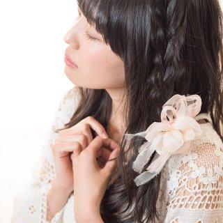 mini|スイートピー|咲き編みシュシュ