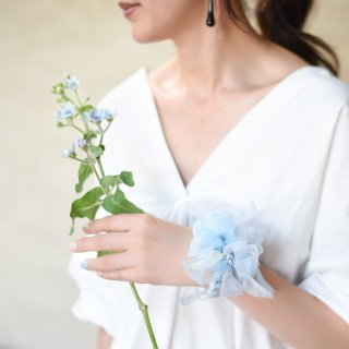 mini|ワスレナグサ|咲き編みシュシュ