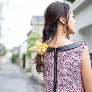 mini|ヒマワリ|咲き編みシュシュ
