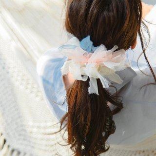 パステル|彩る咲き編みシュシュ