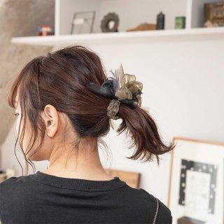 mini|カモフラ|咲き編みシュシュ