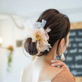 【party】ロゼ|彩る咲き編みシュシュ