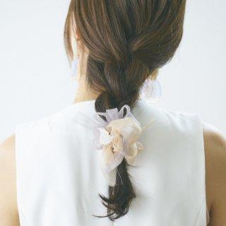 mini|ミルクティ|咲き編みシュシュ