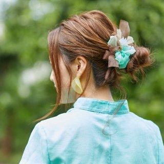 mini|チョコミント|咲き編みシュシュ