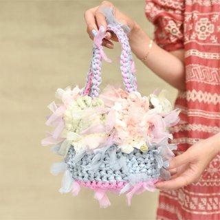 ガーリーパステル|プチ|咲き編みフラワーバスケット