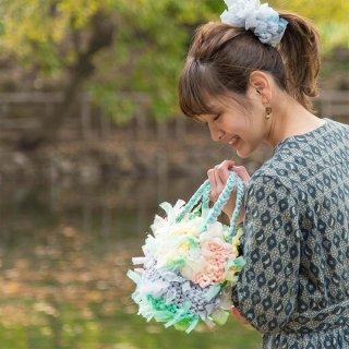 ウキウキパステル|プチ|咲き編みフラワーバスケット