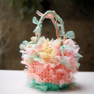 ビタミンパステル|プチ|咲き編みフラワーバスケット
