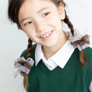 【for Kids】咲き編みヘアゴム|スクール(ブラウン)