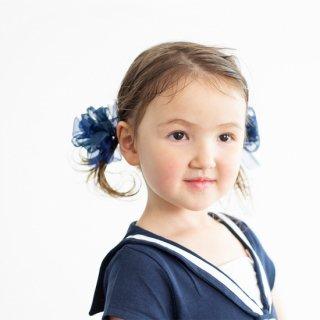 【for Kids】咲き編みヘアゴム|セーラー(ネイビー)