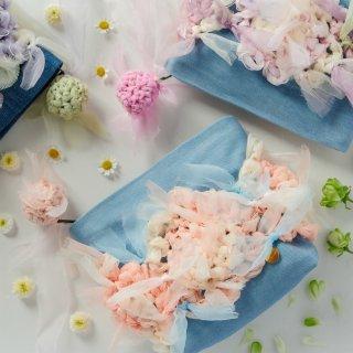 ラブリーパステル|咲き編みポーチ