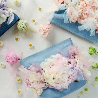 ガーリーパステル|咲き編みポーチ