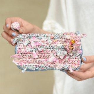 ピンク|わたしだけの咲き編みポーチ(リバティxデニム)