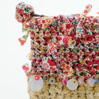 レッド|わたしだけの咲き編みポーチ(リバティxスパンコール)