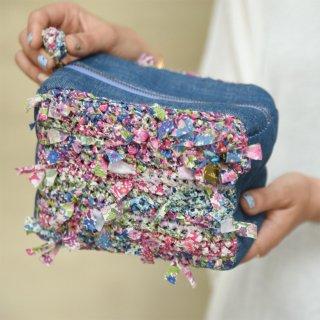 ブルー|わたしだけの咲き編みポーチ(リバティxキューブ)