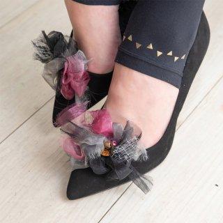 【party】シルバーブラック|彩る咲き編みシューズクリップ