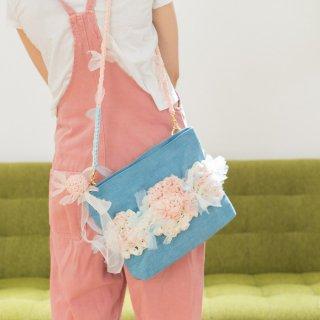 ラブリー|咲き編みポシェット・クラッチ(デニム)