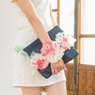スパイス|咲き編みポシェット・クラッチ(デニム)