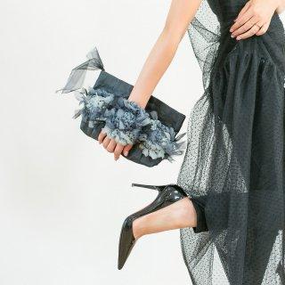 モノトーン|咲き編みクラッチ・ハンドバッグ(畳縁)