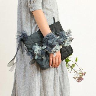 モノトーン|咲き編みポシェット・クラッチ(畳縁)