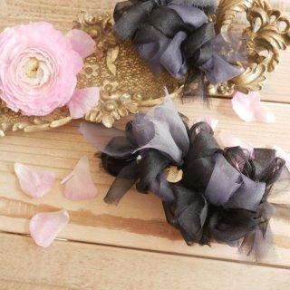 モノトーン|彩る咲き編みバレッタ/ヘアクリップ