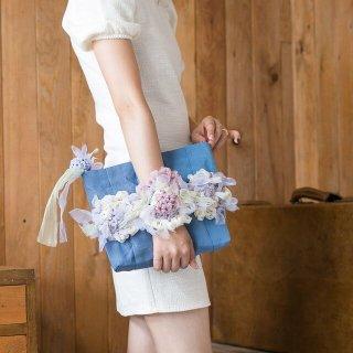 レディ|咲き編みポシェット・クラッチ(畳縁)