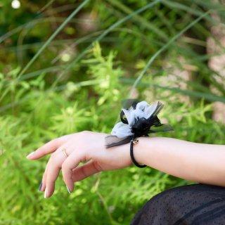彩る咲き編みヘアゴム|クールブラック