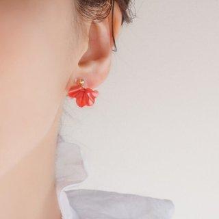 レッド|花咲きフリル|ピアス/イヤリング(18Kgp)